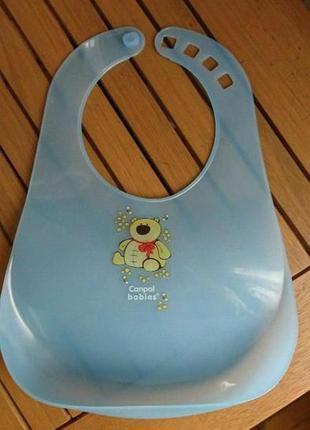 Пластиковый нагрудник, слюнявчик canpol babies с карманом