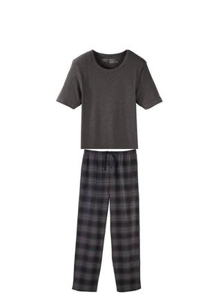 Мужская пижама домашний костюм livergy германия, футболка штаны фланель