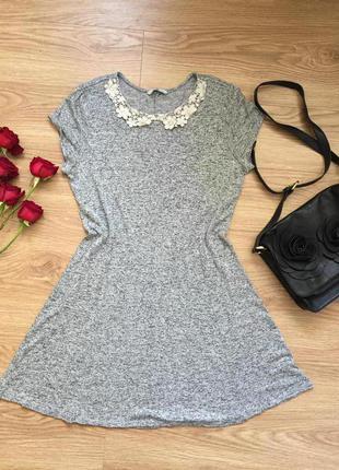 Плаття сіре з коміром