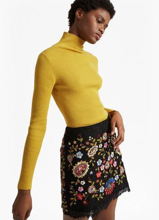 Трэндовый горчичный/желтый свитер/водолазка с высоким горлом в рубчик peacocks