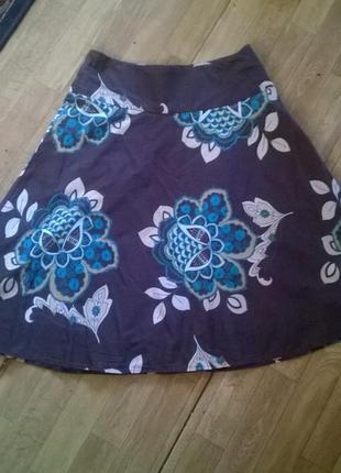 Юбка-миди полусолнце с цветочным принтом на кокетке