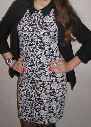 Платье черно-белое, платье с коротким рукавом