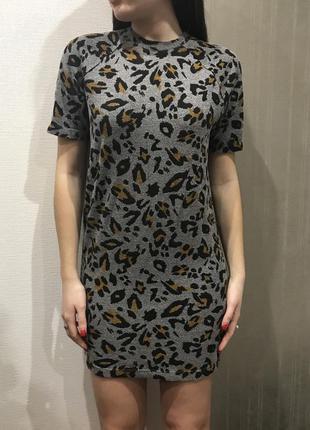 Платье zara оригинал леопардовое мини,прямой крой animal print, леопард,туника