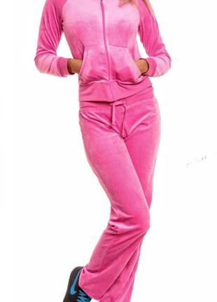 56f2342e Клевый велюровый розовый спортивный костюм с брюками. 75% коттон H&M ...