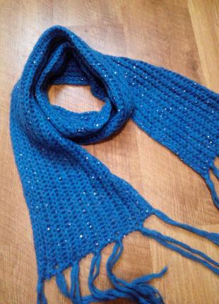 Синий шарф с блестками