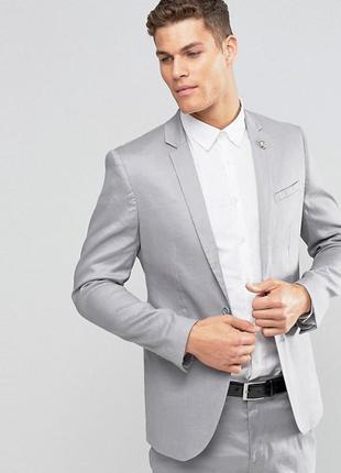 Красивый мужской пиджак asos 65% лен 33% котон