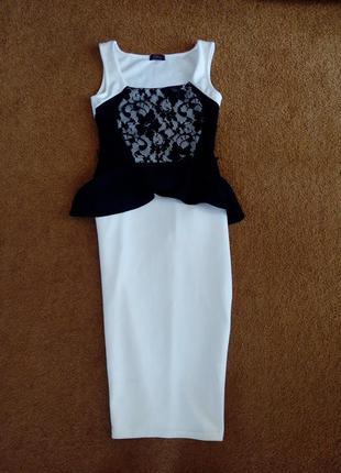 Платье с кружевом с баской миди футляр evita