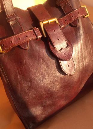 Винтажная вместительная кожаная стильная сумка шоппер mulberry оригинал италия кожа