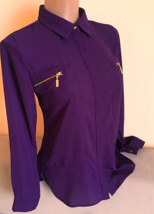Фіолетова блуза рубашка сорочка шифон довгий рукав 3/4 select