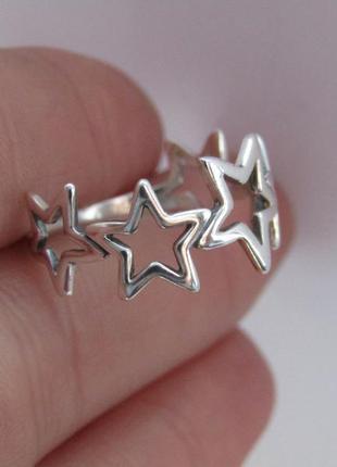 Серебряное кольцо звезда