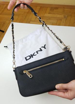 Стильная кожаная сумка от dkny, оригинал из сша3