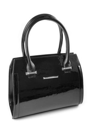 Черная деловая лаковая сумка саквояж каркасная небольшая с ручками
