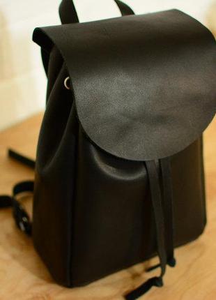 Кожа. ручная работа. кожаный черный рюкзак, рюкзачок