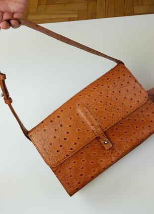Винтажная сумка dkny из натуральной страусиной кожи