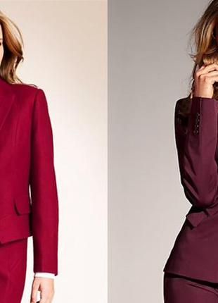 Костюм, комплект бордовый: юбка, блузка-жакет