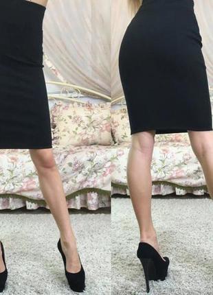 Трикотажная черная юбка карандаш есть другие цвета р. xs, s, m, l, xl