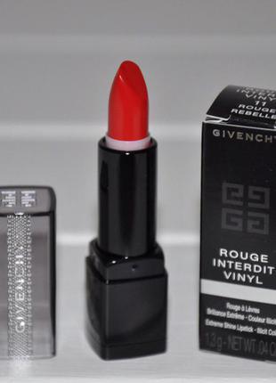Помада для губ givenchy rouge interdit vinyl color lipstick мини 1,3г тон 11 rouge rebelle