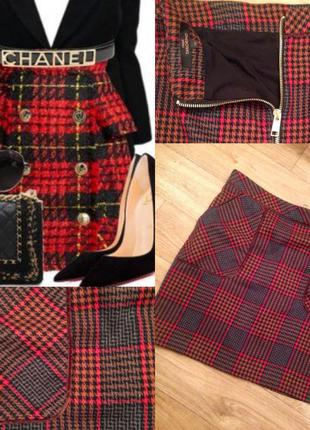 Короткая юбка в клетку.юбка.красная юбка.