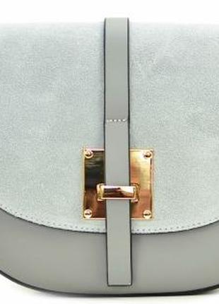 Элегантная женская кожаная сумка-седло (италия) светло- серая2 фото