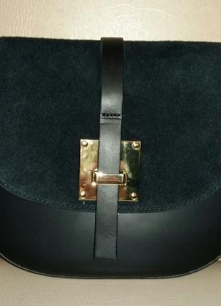Элегантная женская кожаная сумка-седло (италия)
