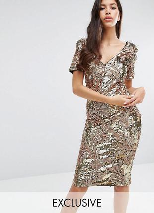 Club l золотое платье в пайетки роскошь
