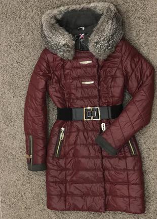 Зимнее пальто пуховик с натуральным мехом кролика размер s-m