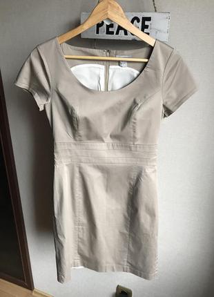 Бежевое нюдовое офисное платье h&m, с-м