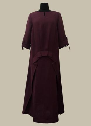 Нарядное, повседневное льняное платье большого размера. цвет марсала.