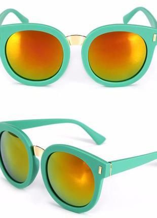 Мятные зеркальные очки.солнцезащитные очки.зеркальные очки.очки