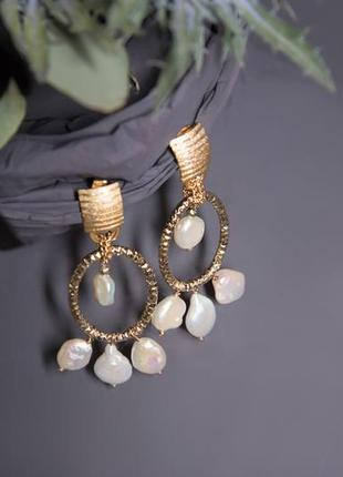 Сережки/ золото/жемчуг/ casarte/дизайнерские /итальянские /большие кольца