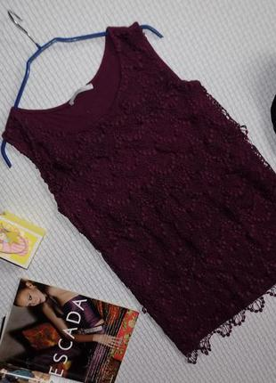 Эффектная ажурная блуза цвета баклажан