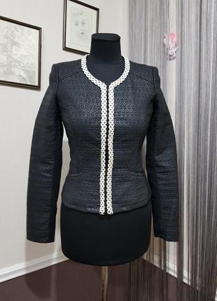 Стильный жакет пиджак куртка эко кожа zara
