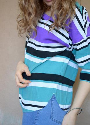 Трендовая кофточка в бирюзовую, белую, черную, фиолетовую полоску