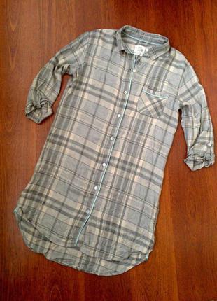 34-36р. серый в клетку халат-рубашка, вискоза