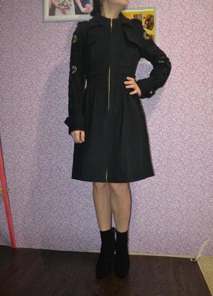 Пальто темно-синие демисезонное кашемир