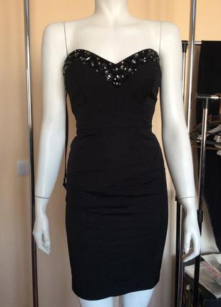 Платье по  фигуре warehouse, xs без бретелей с камнями вечернее коктельное