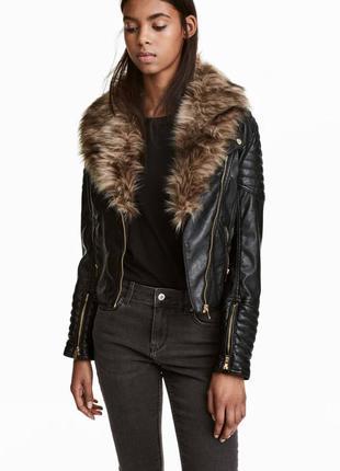 Курточка их экокожи с мехом,куртка косуха hm,черная байкерская косуха,кожанка