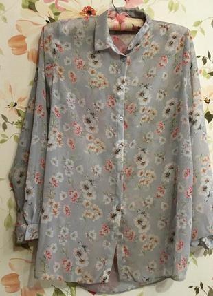 Шифоновая полупрозрачная блуза в цветы