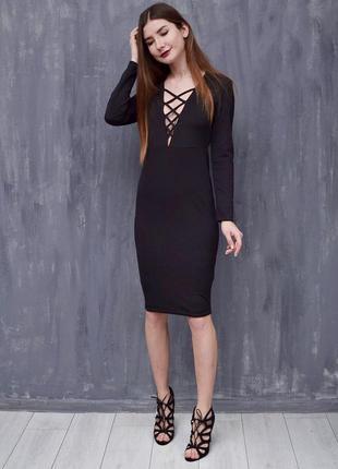 Красивое миди платье с завязками