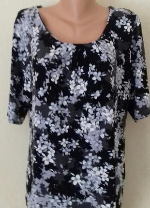 Трикотажная блуза с принтом большого размера