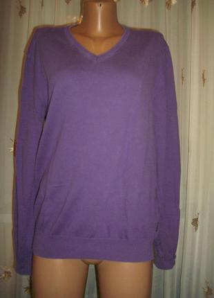 Тонкий вязаный свитер фиолетового цвета от hugo boss