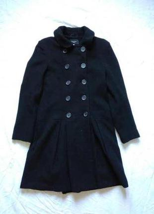 Шерстяное двубортное черное пальто, классика