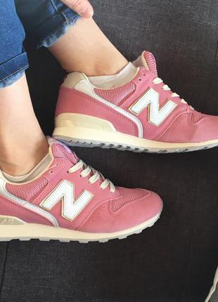 Кроссовки замшевые розовые с бежевым в стиле new balance