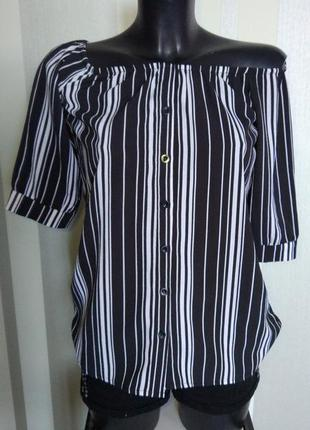 Клевая фирменная полосатая блузка рубашка 👚 на пуговицах с спущенными плечами