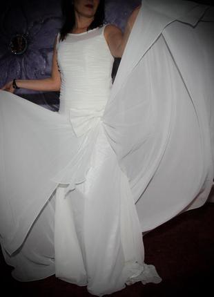 Платье свадебное выпускное шлейф бант