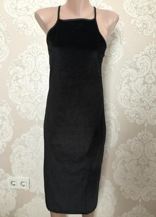 Бархатное платье, велюровое платье миди, размер l