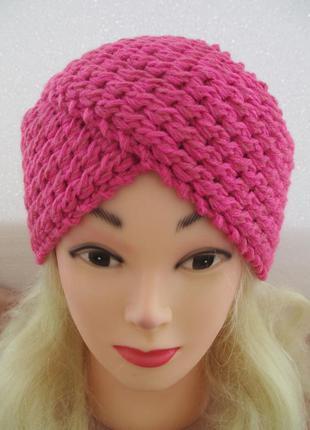 Шапка-повязка ярко-розовая