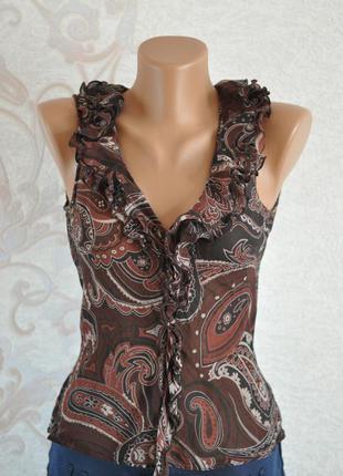 Красивая шелковая блуза в принт - 100% шелк!!!