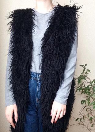 ✨ чёрная жилетка-шубка-овечка