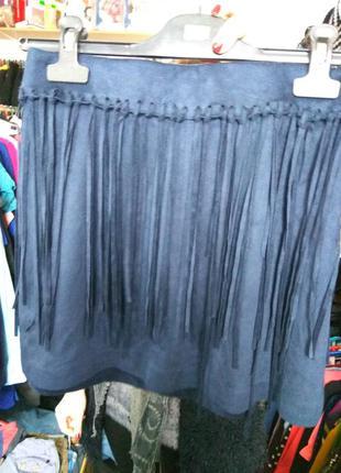 Короткая юбка с бахромой zara